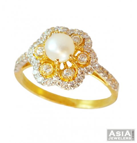 9e65faf3ad8eb9 Gold Ladies CZ Ring 22K - ajri56767 - 22k Gold Fancy design with ...