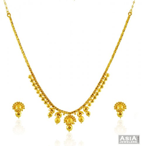 22k Gold Traditional Necklace Set - AjNs58137 - 22K Gold ...- photo #36