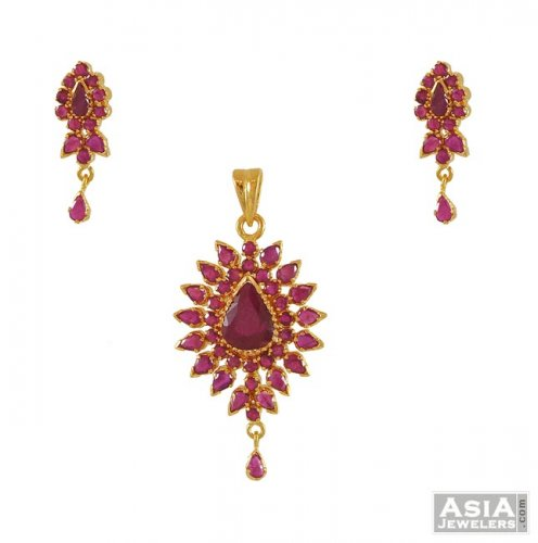 Pendant Set With Ruby 22k Gold