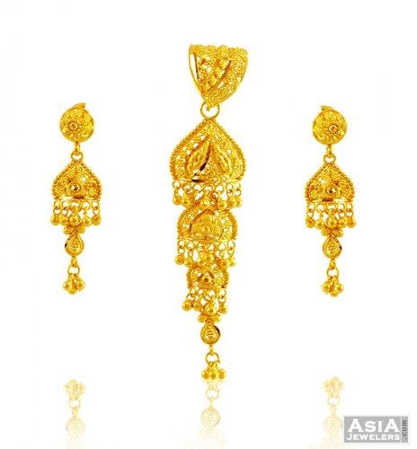 Beautiful gold pendant set 22k ajps58065 22k gold traditional beautiful gold pendant set 22k aloadofball Images