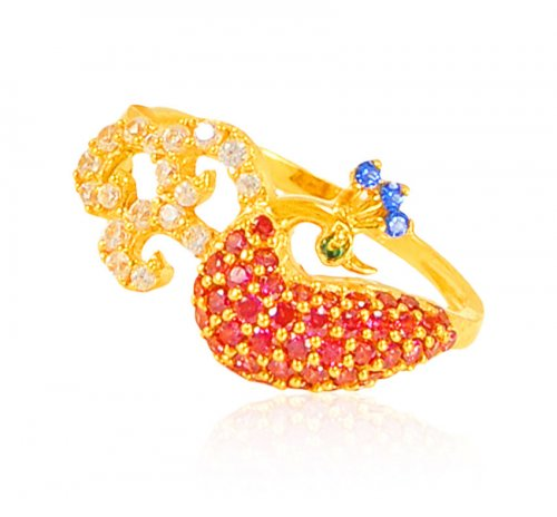 22 kt Gold Traditional Peacock Ring