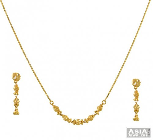22Kt Gold Simple Necklace Set AjNs52995 22K Gold simple Necklace