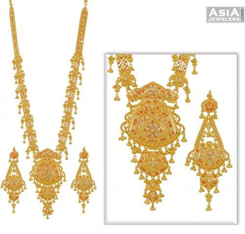 Gold Long Necklace Online Gold 3 Tone Long Necklace Set