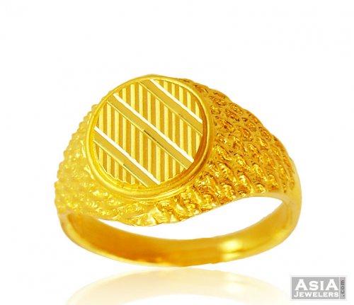 22K Mens fancy Ring AjRi 22K Gold Men Ring round design