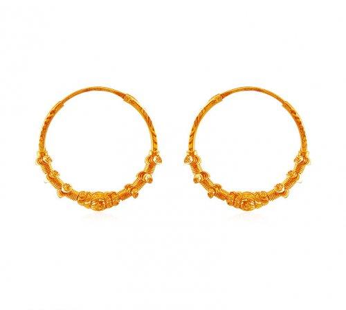 Gold Fancy Hoop Earrings