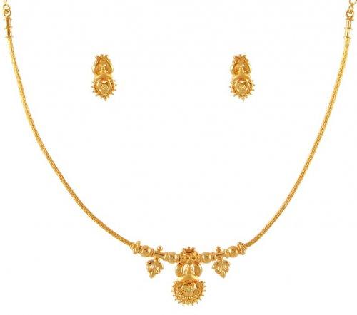 22 Karat Gold Necklace Set Ajns50902 22k Gold Light Necklace And
