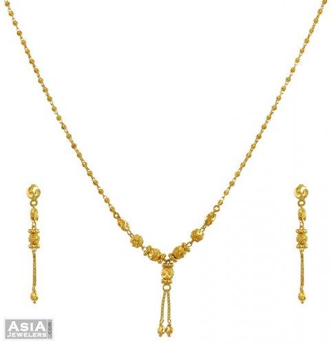 Gold Necklace Set 22k