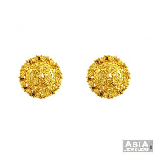 22k Gold Filigree Tops - AjEr55632 - 22K gold tops earrings design in ...