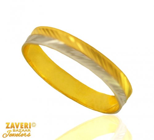 Two Tone Gold Band 22 kt