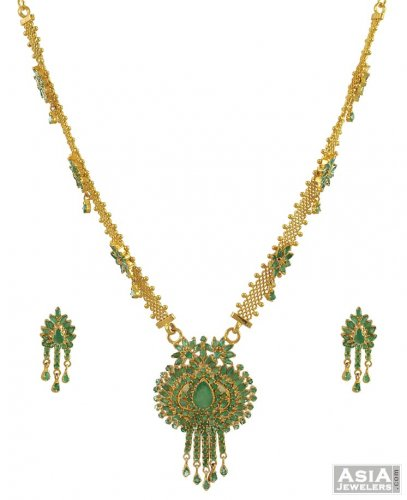 Emerald necklace and earrings set ajns53842 22k gold indian emerald necklace and earrings set aloadofball Choice Image