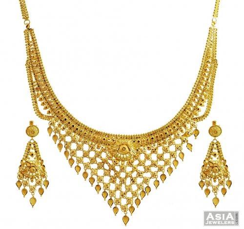 Designer Net Style Necklace Set 22k AjNs57085 22 Karat Yellow