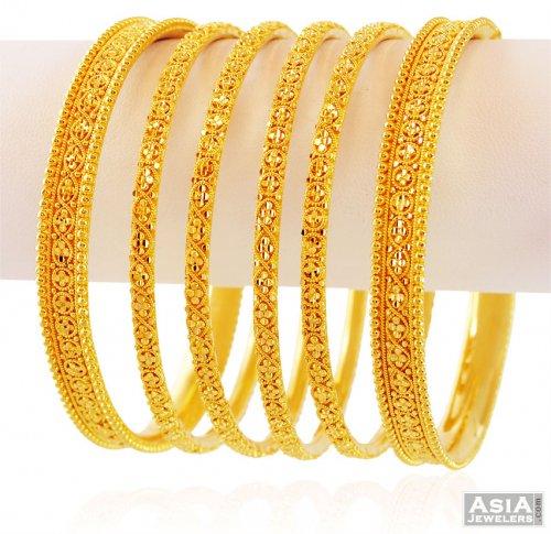22k Bridal Filigree Bangles Set Ajba59337 22kt Yellow Gold Designer Bangles Set 6