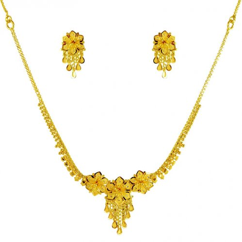 22k Gold Necklace And Earrings Set
