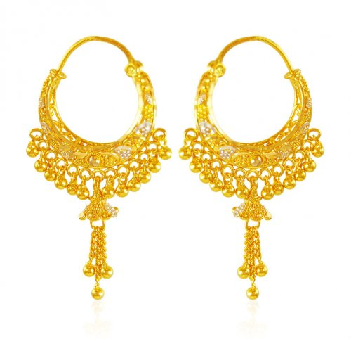 22k Gold Basket Style Earrings