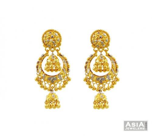 Designer 2 Tone Jhumki Earrings 22k AjEr57157 22k gold fancy