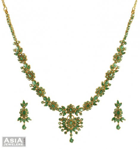 Well known 22K Gold Emerald Necklace Set - AjNs53586 - 22K Gold Necklace  CK58