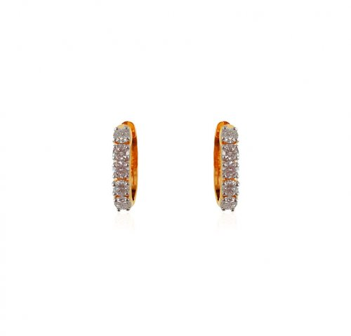 18K Gold Clip on Diamond Earrings