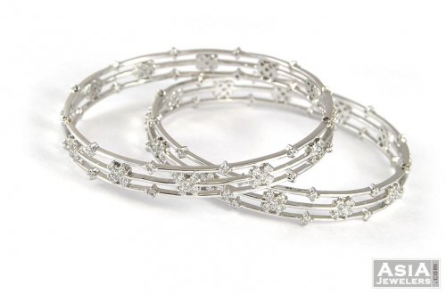 on diamond bangles gold bangle fire in metallic copley white hearts lyst jewelry