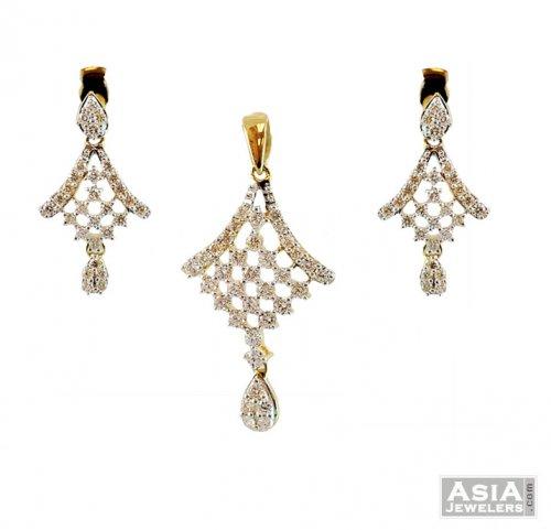 cf10f88ad Designer Diamond Pendant Set - AjDi57582 - 18K Designer Diamond ...