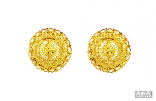 Gold Round Shape Tops 22k Ajer57147 Shaped