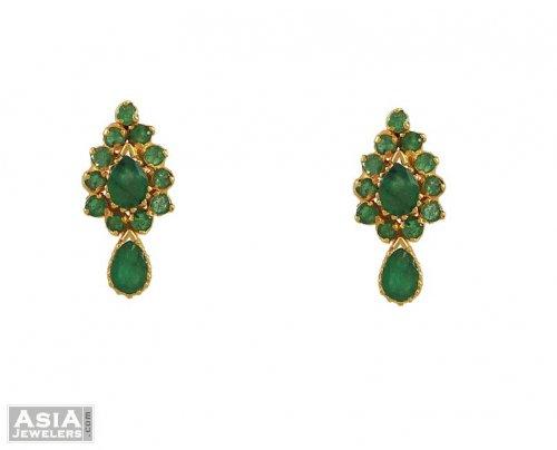 22k Designer Emerald Earrings
