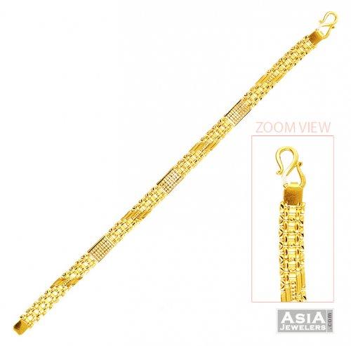 722332f3cf8b9 Mens Light Weight Bracelet 22k Gold - AjBr57536 - 22K yellow gold ...