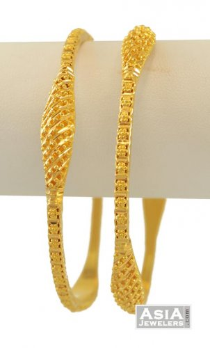 13980a95882 22K Fancy Bangles (2 pcs) - asba55009 - 22k gold fancy bangles (2 ...