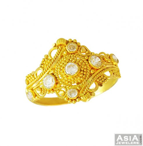 7fc3dc9c83c30a Ladies Fancy CZ Gold Ring(22k) - AjRi56110 - 22K gold ladies fancy ...