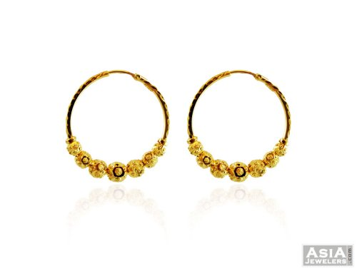 22K Gold Fancy Small Hoops Earrings AjEr 22Kt Gold Indian