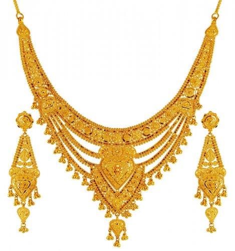 22kt Gold Necklace Set Ajns62430 22k Gold Indian