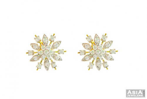 7e5202f4f Signity Studded Floral Shaped Tops - AjEr57406 - 22K Gold Earrings ...