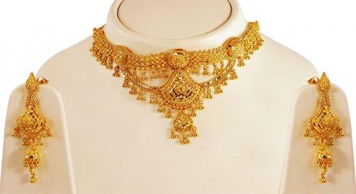 22kt Gold Choker Necklace Set Ajns62431 22k Gold