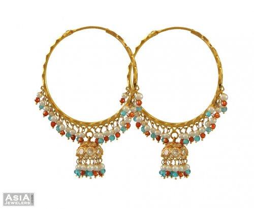 e5b5548a36d82 22k Designer Beads, CZ Hoops - AsEr54579 - 22K gold hoops ...