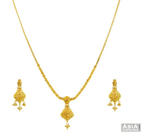22k Gold Indian Fancy Necklace Set Ajns55862 22k Gold Indian Fancy Necklace And Earrings Set Beautifully Designed With Delicate And Traditional F