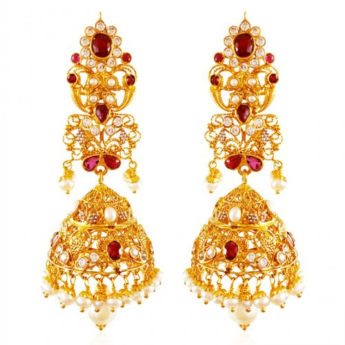 22K Gold Jhumki Earrings