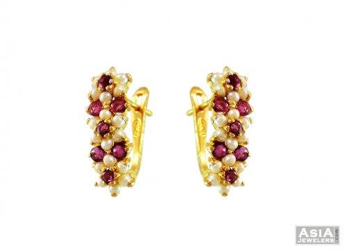 22k Ruby Pearl Studded Earrings
