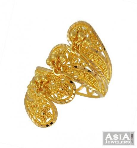 22K Indian Designer Ring AjRi 22K Gold Indian designer