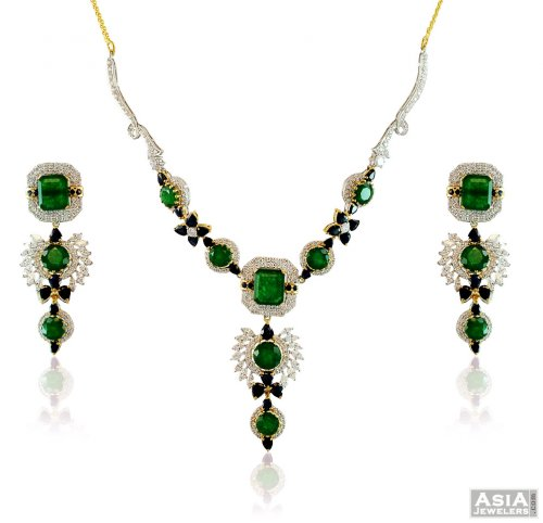 22k Colored Stones Necklace Set