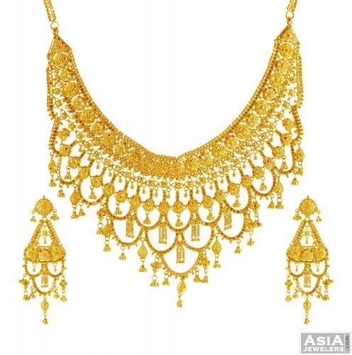 22k Bridal Gold Necklace Set Ajns56074 22k Designer Gold