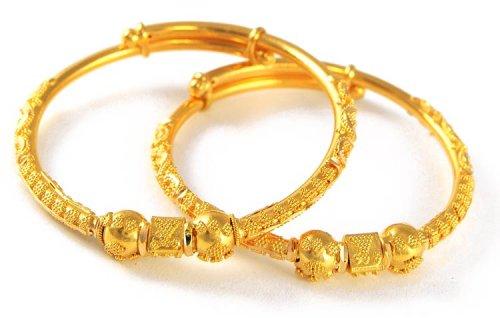 22K Gold Baby Bangles AjBa50964 22k gold baby bangles set of 2