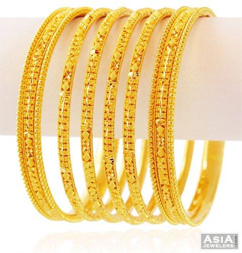 indian design gold bangles set ajba59340 traditional