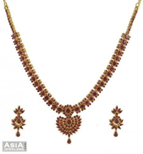 22k Gold Ruby Necklace Set