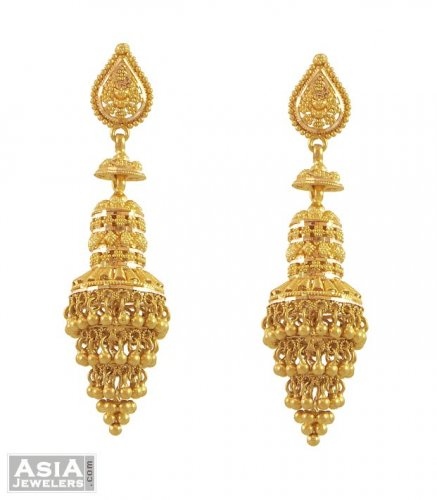 Yellow Gold Chandelier Earrings AjEr53526 22Kt Yellow Gold