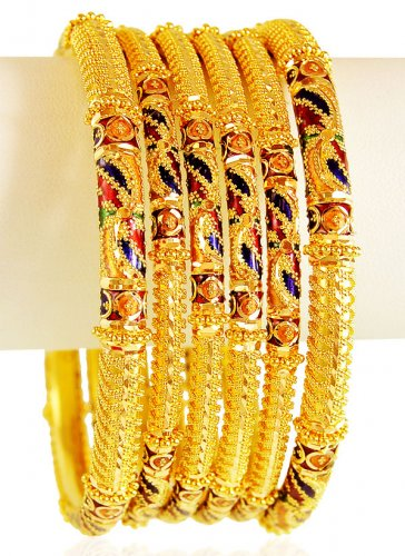 22k Meena Bangle Set 4 pc