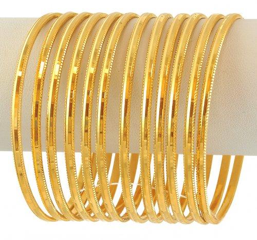 22k Gold Machine Bangles Set Asba60113 22k Gold Fancy