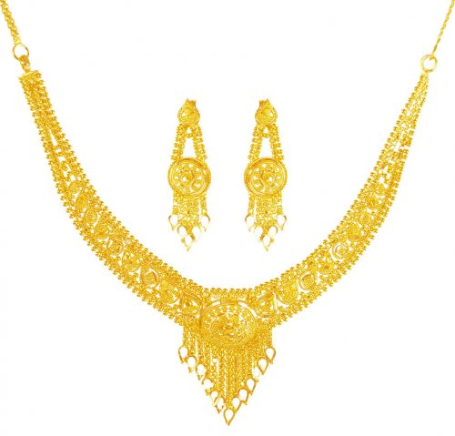 Gold Necklace And Earrings Set 22kt Indian Jewelry With: 22Kt Gold Filigree Necklace Set