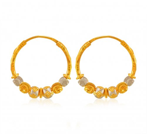 22 Kt Gold Balls Two Tone Hoop