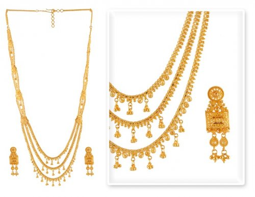 Gold Patta Necklace Set AjNs51107 22K Gold Long Necklace and