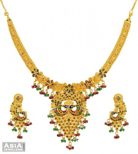 22k Peacock Necklace Set