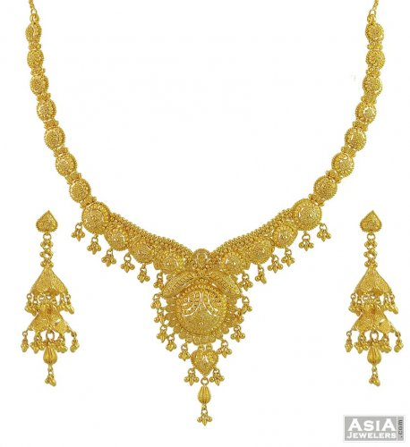 Yellow Gold Filigree Necklace Set AjNs53834 22K Gold hand